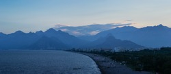 Antalya mountains after the sunset panorama