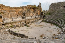 Antalya - Turkey. April 04, 2019. Perge Ancient City. Perge, one of the Pamphylian cities and was believed to have been built in the 12th to 13th centuries BC.