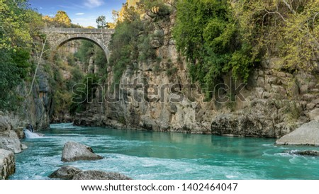 Antalya, Turkey - March 2019: Antique Oluk Bridge across Kopru Irmagi creek in Koprulu Kanyon national park in Antalya Turkey. Stok fotoğraf ©