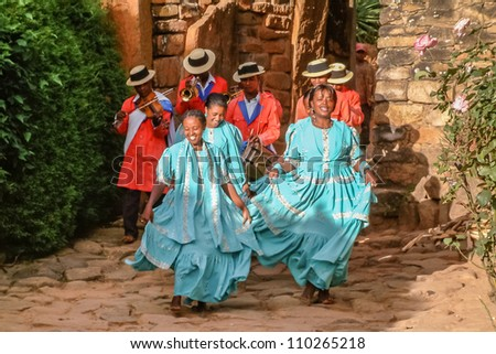 ANTANANARIVO, MADAGASCAR - MAY 04: Show of Hira Gasy troupe on may 04, 2004 in Antananarivo. The Hiragasy is a musical tradition in Madagascar from the Merina ethnic group of the Highlands.
