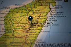 Antananarivo, the capital and largest city of Madagascar pinned on geographical map