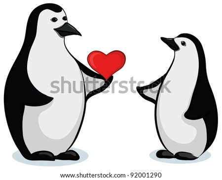 Antarctic black and white emperor penguins with Valentine red heart
