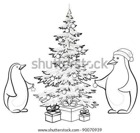 Antarctic emperor penguins decorate Christmas tree, contours - stock photo