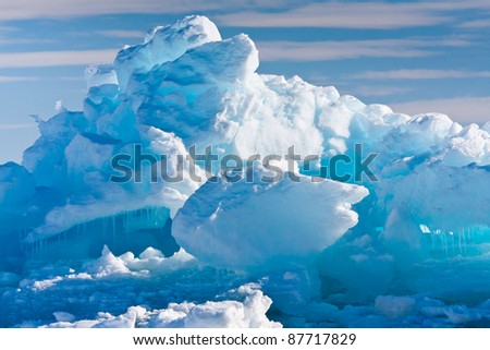 Antarctic Glacier with cavities. Beautiful winter background.