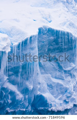 Antarctic Glacier with icicles