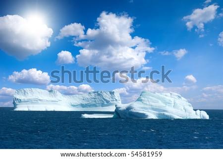 Antarctic ice island with penguins  in atlantic ocean