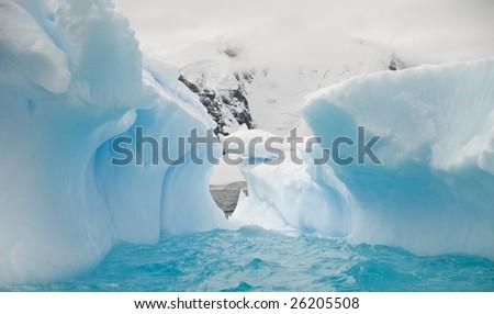 Antarctic iceberg cave
