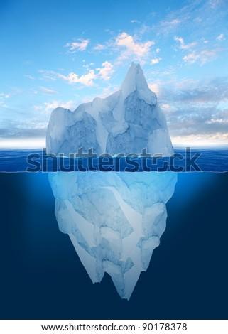 Stock Photo Antarctic iceberg in the ocean. Beautiful polar sea background.