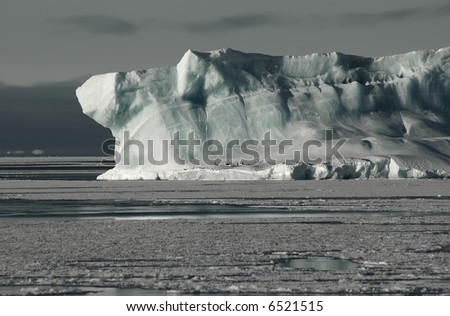 Antarctic iceberg with adelie penguins