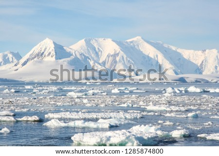 Antarctic icebergs in the waters of the ocean. Antarctic landscape Antarctic icebergs in the waters of the ocean. Antarctic landscape