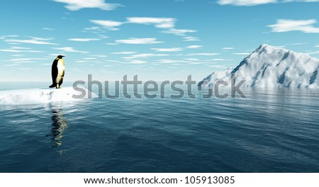 Antarctic penguin on ice - digital artwork