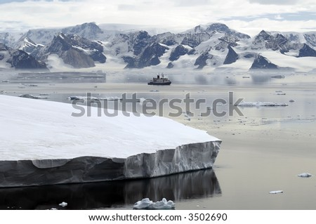Antarctica and research vessel