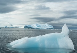 Antarctica, antarctic Peninsula, Iceberg  and ice floes in the Lemaire Channel