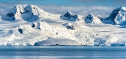 Antarctica mountains and sea. South Pole