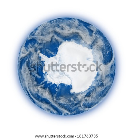 Antarctica on blue planet Earth isolated on white background. Highly detailed planet surface. Elements of this image furnished by NASA.