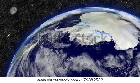Antarctica on planet Earth from space with Moon and stars in the background. Elements of this image furnished by NASA.