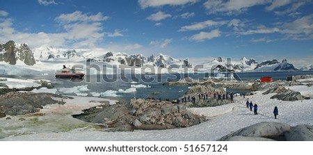 Antarctica Panorama - mountains, glaciers, penguin colonies