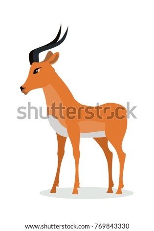 Antelope impala cartoon character. Beautiful impala flat  isolated on white. African fauna. African antelope icon. Wild animal illustration for zoo ad, nature concept, children book illustrating