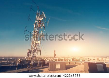 Antenna against the blue sky