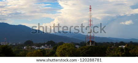 Antenna in front of mountain  panoramic view