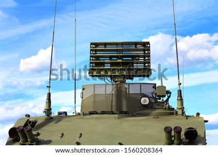 Antenna of aerial reconnaissance system, receiving information from paired detection and targeting systems for weapons #1560208364
