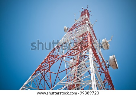 Antenna of Communication Building and blue sky