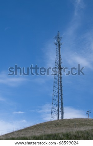 Antenna tower relays electronic signals in the mountains