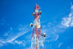 Antenna tower with blue sky background.