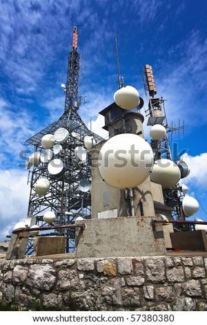antenna tv station on mountain paganella trentino italian alps