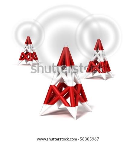 antenna wireless network icon on white background - stock photo