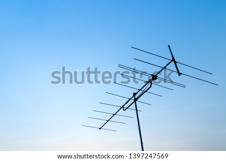 Antenna with blue sky. Close up antenna with copy space for design or text. #1397247569