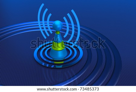 Antenna with radio waves over blue background