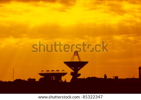Antennas for space communications at sunset. Ukrainian Space Center