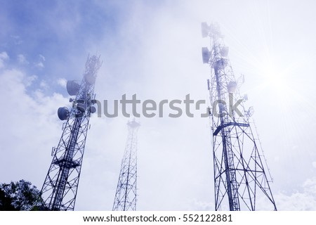 Antennas on the top of a Hill with blue sky in the morning