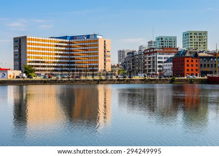 ANTEWERP, BELGIUM - JUN 5, 2015: Modern architecture in Antwerp, Belgium. Antwerp is the capital of Antwerp province and the most populous city in Belgium