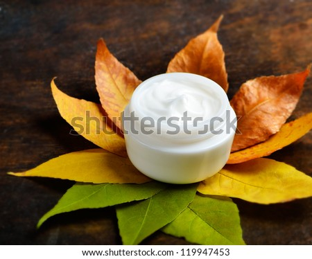 Anti-aging cream on a background of green and dry leaves