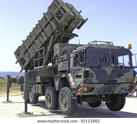 Anti aircraft missiles and truck