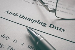 Anti-Dumping Duty words on the page and glasses.