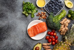 Anti inflammatory diet concept. Set of foods that help to reduce inflammation - plant based ingredients, fresh fruit, green vegetables. Healthy diet products, top view, stone background copy space