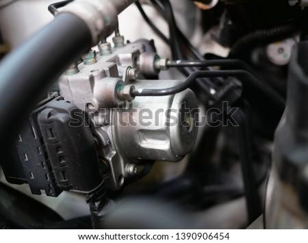 anti-lock braking system (ABS) in the car. #1390906454