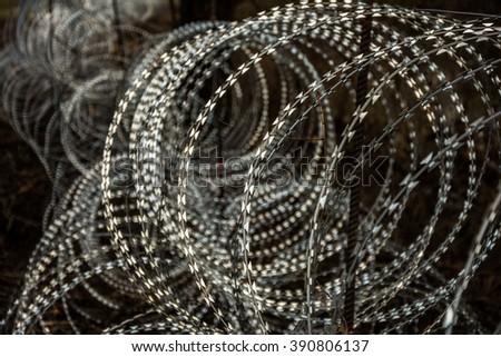 Anti-migrant razor wire on the border.