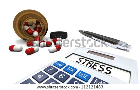 Anti-stress pills in opened pill bottle with calculator and pen isolated on white background