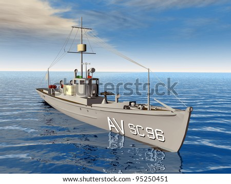 Anti Submarine Chaser Ship Computer generated 3D illustration