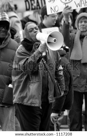 Anti-War protester with megaphone