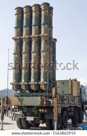 Antiaircraft missile. military ballistic launcher with missiles, modern army industry