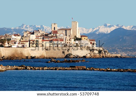 Antibes, old town, French Riviera. The tower with the flag is the first museum in the world to be dedicated to the artist Pablo Picasso.
