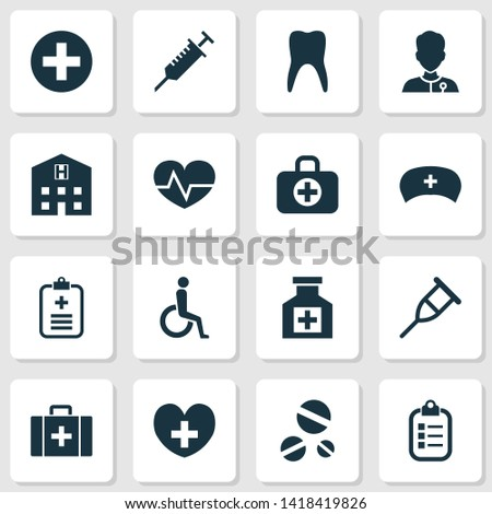 Antibiotic icons set with wheelchair, medic, record and other surgical bag elements. Isolated  illustration antibiotic icons.