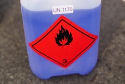 antifreeze. flammable warning label. Warning Sign. Danger.