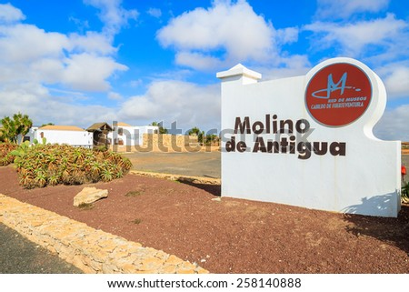 ANTIGUA, FUERTEVENTURA ISLAND - FEB 6, 2014: entrance sign to museum in Antigua town where old windmills are located, most famous landmark of Fuerteventura island.
