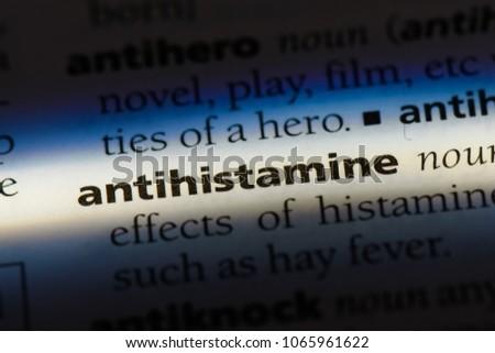 antihistamine word in a dictionary. antihistamine concept. #1065961622